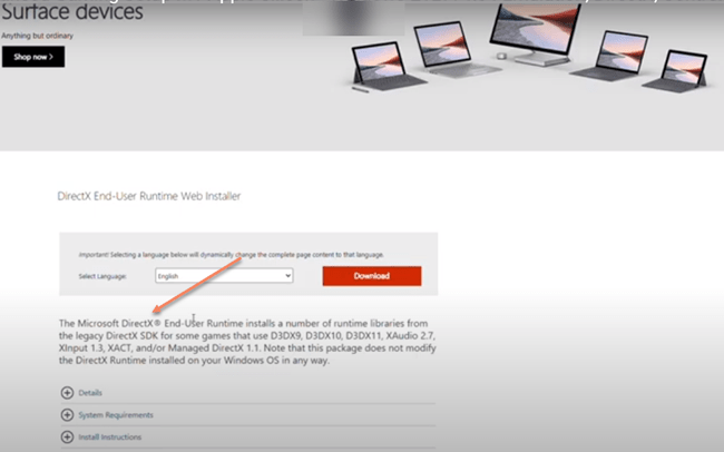 Direct X Runtime Web Installer